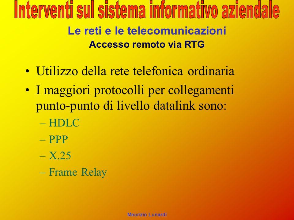 Le reti e le telecomunicazioni Accesso remoto via RTG Utilizzo della rete telefonica ordinaria I maggiori protocolli per collegamenti punto-punto di l