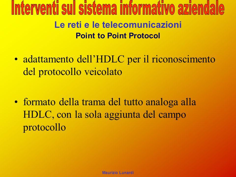 Le reti e le telecomunicazioni Point to Point Protocol adattamento dellHDLC per il riconoscimento del protocollo veicolato formato della trama del tutto analoga alla HDLC, con la sola aggiunta del campo protocollo Maurizio Lunardi