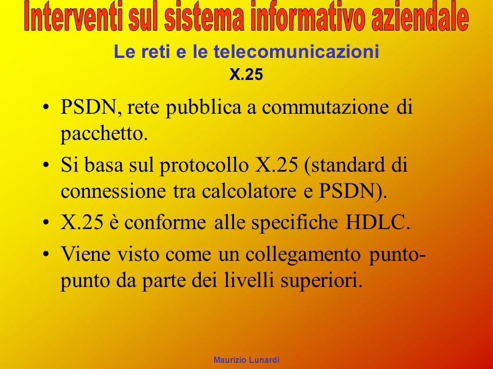 Le reti e le telecomunicazioni X.25 PSDN, rete pubblica a commutazione di pacchetto. Si basa sul protocollo X.25 (standard di connessione tra calcolat