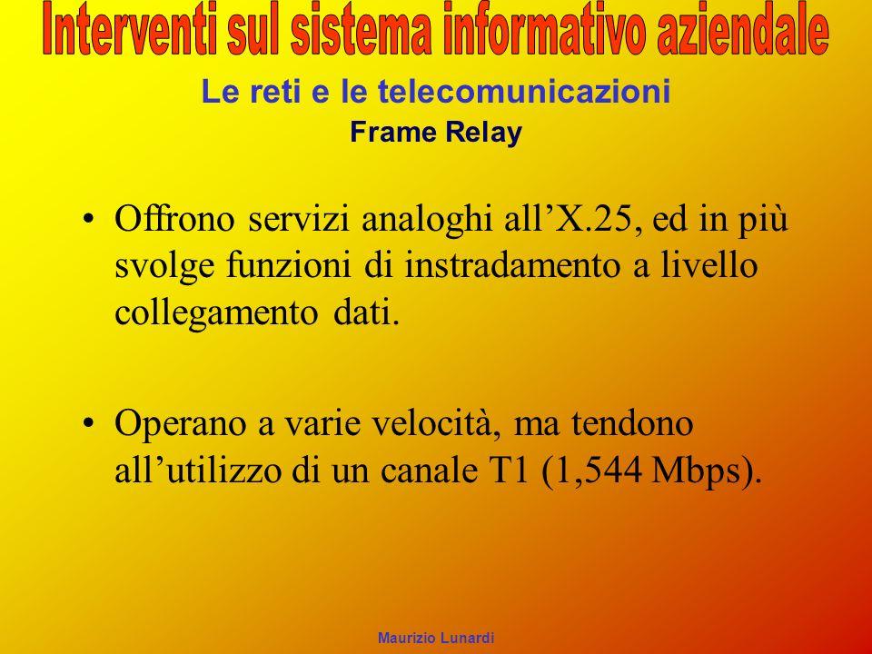 Le reti e le telecomunicazioni Frame Relay Offrono servizi analoghi allX.25, ed in più svolge funzioni di instradamento a livello collegamento dati.