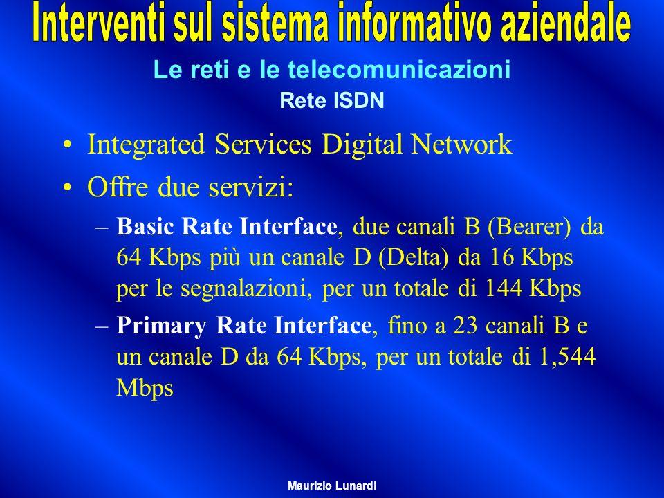 Le reti e le telecomunicazioni Rete ISDN Integrated Services Digital Network Offre due servizi: –Basic Rate Interface, due canali B (Bearer) da 64 Kbps più un canale D (Delta) da 16 Kbps per le segnalazioni, per un totale di 144 Kbps –Primary Rate Interface, fino a 23 canali B e un canale D da 64 Kbps, per un totale di 1,544 Mbps Maurizio Lunardi