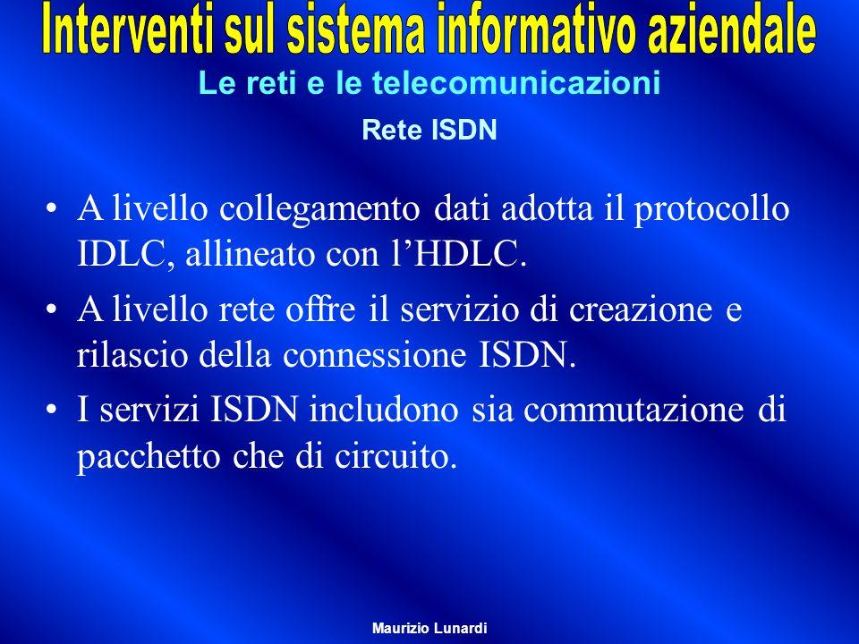 Le reti e le telecomunicazioni Rete ISDN A livello collegamento dati adotta il protocollo IDLC, allineato con lHDLC. A livello rete offre il servizio