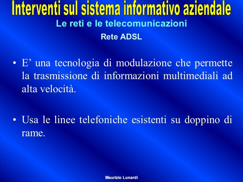 Le reti e le telecomunicazioni Rete ADSL E una tecnologia di modulazione che permette la trasmissione di informazioni multimediali ad alta velocità. U