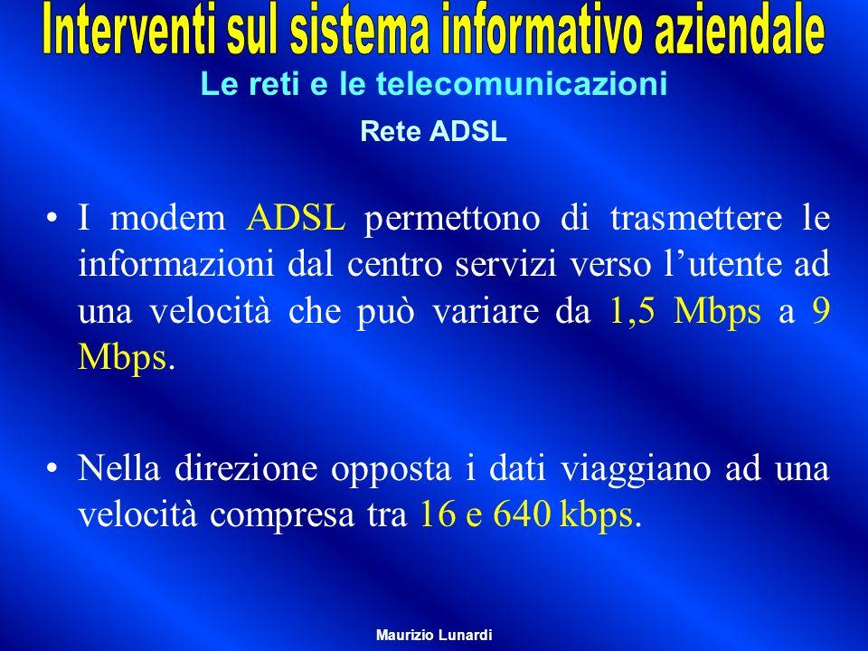 Le reti e le telecomunicazioni Rete ADSL I modem ADSL permettono di trasmettere le informazioni dal centro servizi verso lutente ad una velocità che può variare da 1,5 Mbps a 9 Mbps.