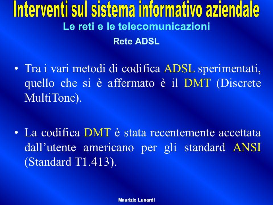 Le reti e le telecomunicazioni Rete ADSL Tra i vari metodi di codifica ADSL sperimentati, quello che si è affermato è il DMT (Discrete MultiTone). La