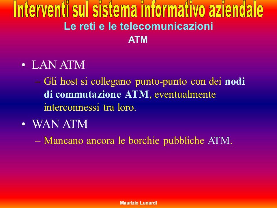 ATM Le reti e le telecomunicazioni LAN ATM –Gli host si collegano punto-punto con dei nodi di commutazione ATM, eventualmente interconnessi tra loro.
