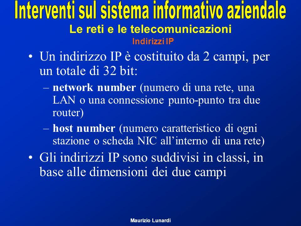 Le reti e le telecomunicazioni Indirizzi IP Un indirizzo IP è costituito da 2 campi, per un totale di 32 bit: –network number (numero di una rete, una