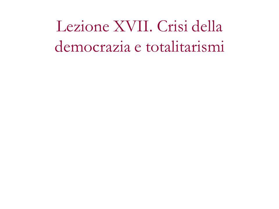 Gli anni della vittoria della democrazia (wilsonismo, suffragio universale, proporzionale) sono anche gli anni della sua crisi Tre periodi:
