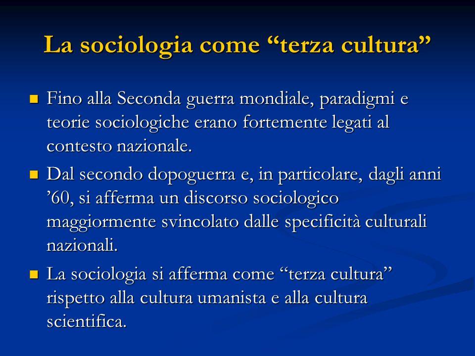 La sociologia come terza cultura Fino alla Seconda guerra mondiale, paradigmi e teorie sociologiche erano fortemente legati al contesto nazionale. Fin