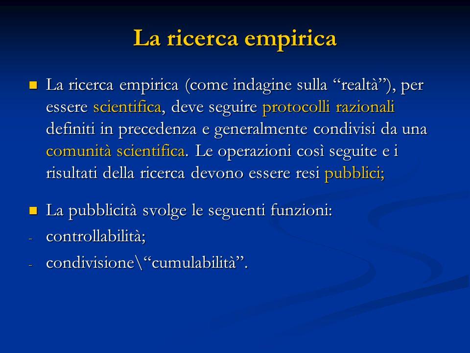 La ricerca empirica La ricerca empirica (come indagine sulla realtà), per essere scientifica, deve seguire protocolli razionali definiti in precedenza