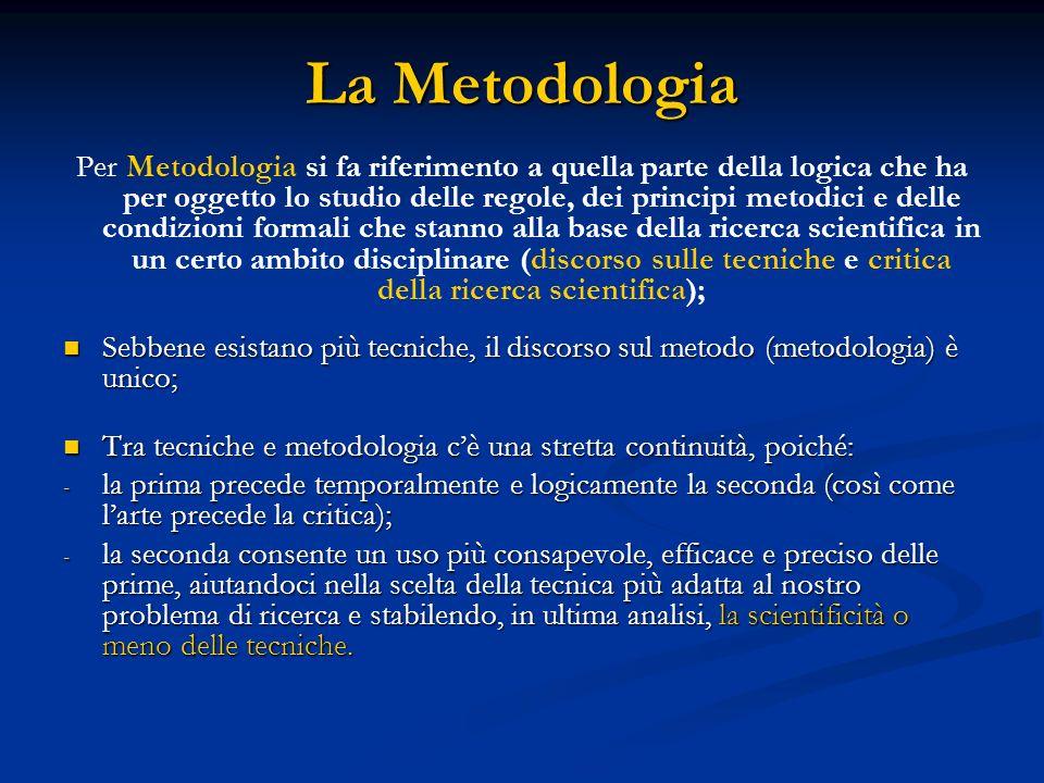 La Metodologia Per Metodologia si fa riferimento a quella parte della logica che ha per oggetto lo studio delle regole, dei principi metodici e delle condizioni formali che stanno alla base della ricerca scientifica in un certo ambito disciplinare (discorso sulle tecniche e critica della ricerca scientifica); Sebbene esistano più tecniche, il discorso sul metodo (metodologia) è unico; Sebbene esistano più tecniche, il discorso sul metodo (metodologia) è unico; Tra tecniche e metodologia cè una stretta continuità, poiché: Tra tecniche e metodologia cè una stretta continuità, poiché: - la prima precede temporalmente e logicamente la seconda (così come larte precede la critica); - la seconda consente un uso più consapevole, efficace e preciso delle prime, aiutandoci nella scelta della tecnica più adatta al nostro problema di ricerca e stabilendo, in ultima analisi, la scientificità o meno delle tecniche.