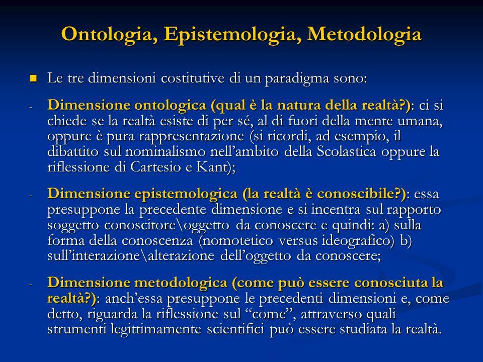 Ontologia, Epistemologia, Metodologia Le tre dimensioni costitutive di un paradigma sono: Le tre dimensioni costitutive di un paradigma sono: - Dimensione ontologica (qual è la natura della realtà?): ci si chiede se la realtà esiste di per sé, al di fuori della mente umana, oppure è pura rappresentazione (si ricordi, ad esempio, il dibattito sul nominalismo nellambito della Scolastica oppure la riflessione di Cartesio e Kant); - Dimensione epistemologica (la realtà è conoscibile?): essa presuppone la precedente dimensione e si incentra sul rapporto soggetto conoscitore\oggetto da conoscere e quindi: a) sulla forma della conoscenza (nomotetico versus ideografico) b) sullinterazione\alterazione delloggetto da conoscere; - Dimensione metodologica (come può essere conosciuta la realtà?): anchessa presuppone le precedenti dimensioni e, come detto, riguarda la riflessione sul come, attraverso quali strumenti legittimamente scientifici può essere studiata la realtà.