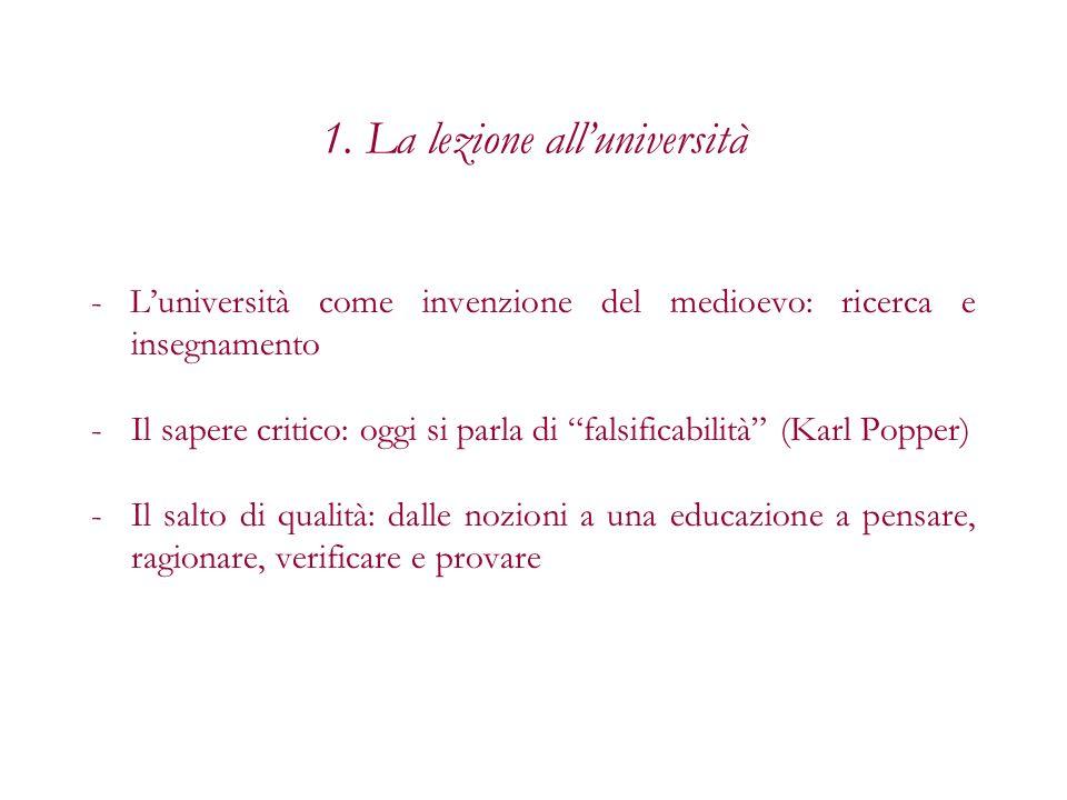 1. La lezione alluniversità - Luniversità come invenzione del medioevo: ricerca e insegnamento -Il sapere critico: oggi si parla di falsificabilità (K