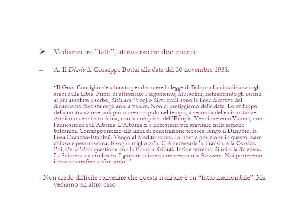 Vediamo tre fatti, attraverso tre documenti: –A. Il Diario di Giuseppe Bottai alla data del 30 novembre 1938: Il Gran Consiglio sè adunato per discute