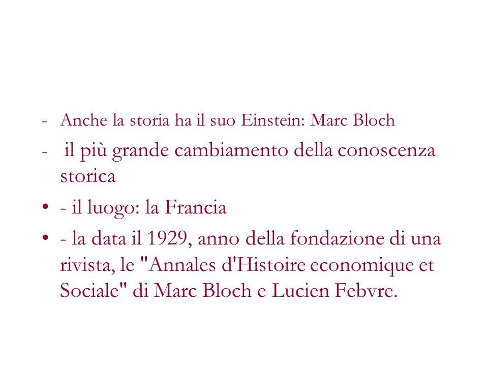 -Anche la storia ha il suo Einstein: Marc Bloch - il più grande cambiamento della conoscenza storica - il luogo: la Francia - la data il 1929, anno de
