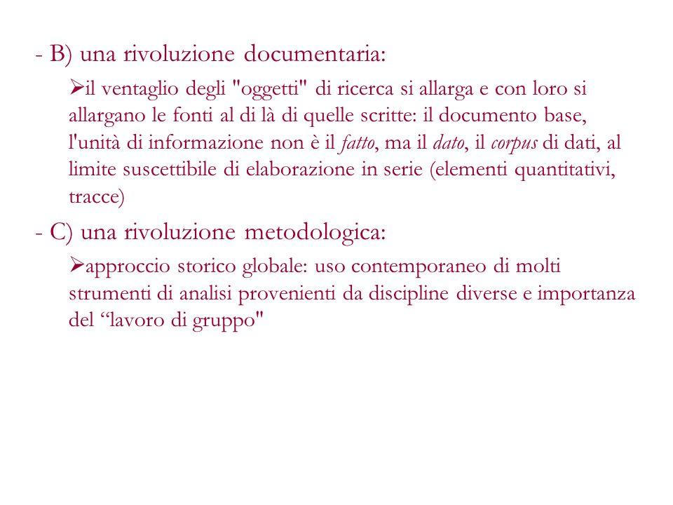 - B) una rivoluzione documentaria: il ventaglio degli