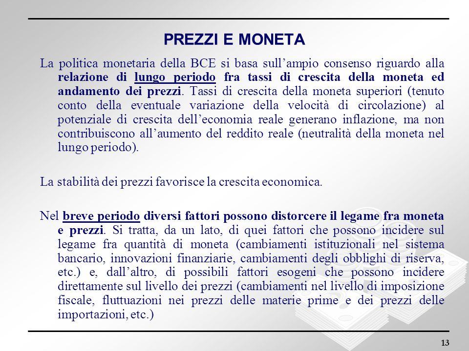 13 PREZZI E MONETA La politica monetaria della BCE si basa sullampio consenso riguardo alla relazione di lungo periodo fra tassi di crescita della mon