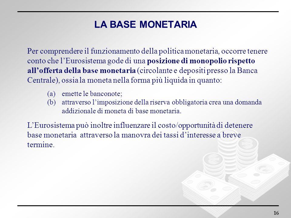 16 LA BASE MONETARIA Per comprendere il funzionamento della politica monetaria, occorre tenere conto che lEurosistema gode di una posizione di monopol