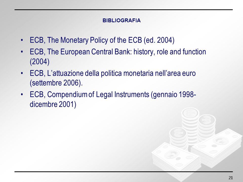 21 BIBLIOGRAFIA ECB, The Monetary Policy of the ECB (ed. 2004) ECB, The European Central Bank: history, role and function (2004) ECB, Lattuazione dell