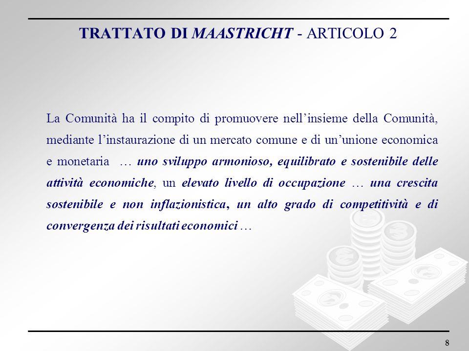 8 La Comunità ha il compito di promuovere nellinsieme della Comunità, mediante linstaurazione di un mercato comune e di ununione economica e monetaria