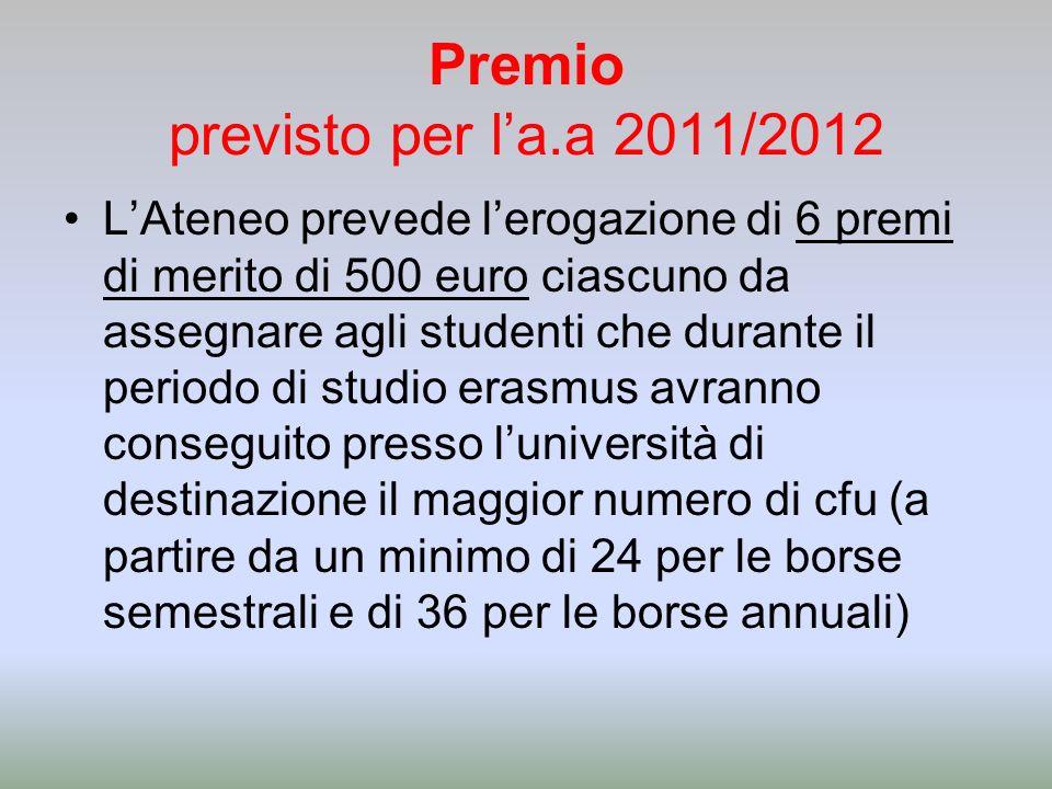 Premio previsto per la.a 2011/2012 LAteneo prevede lerogazione di 6 premi di merito di 500 euro ciascuno da assegnare agli studenti che durante il periodo di studio erasmus avranno conseguito presso luniversità di destinazione il maggior numero di cfu (a partire da un minimo di 24 per le borse semestrali e di 36 per le borse annuali)