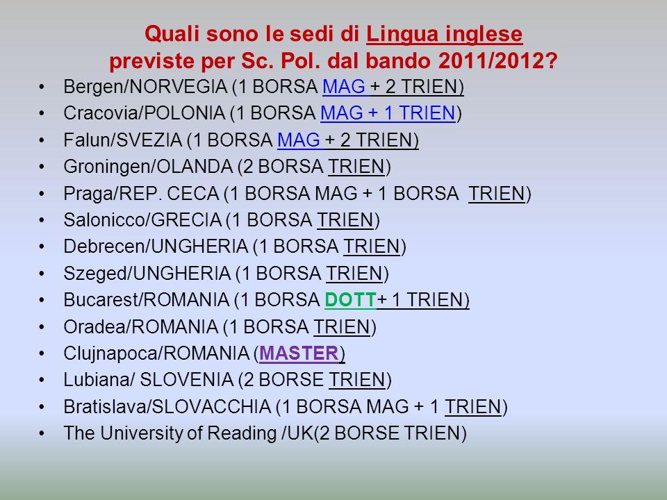 Quali sono le sedi di Lingua inglese previste per Sc.