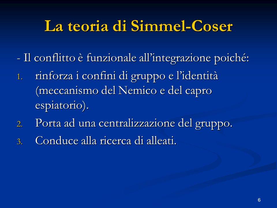 7 La teoria di Simmel-Coser Il conflitto muta nel tempo e può crescere o decrescere in intensità (escalation\de-escalation del conflitto).