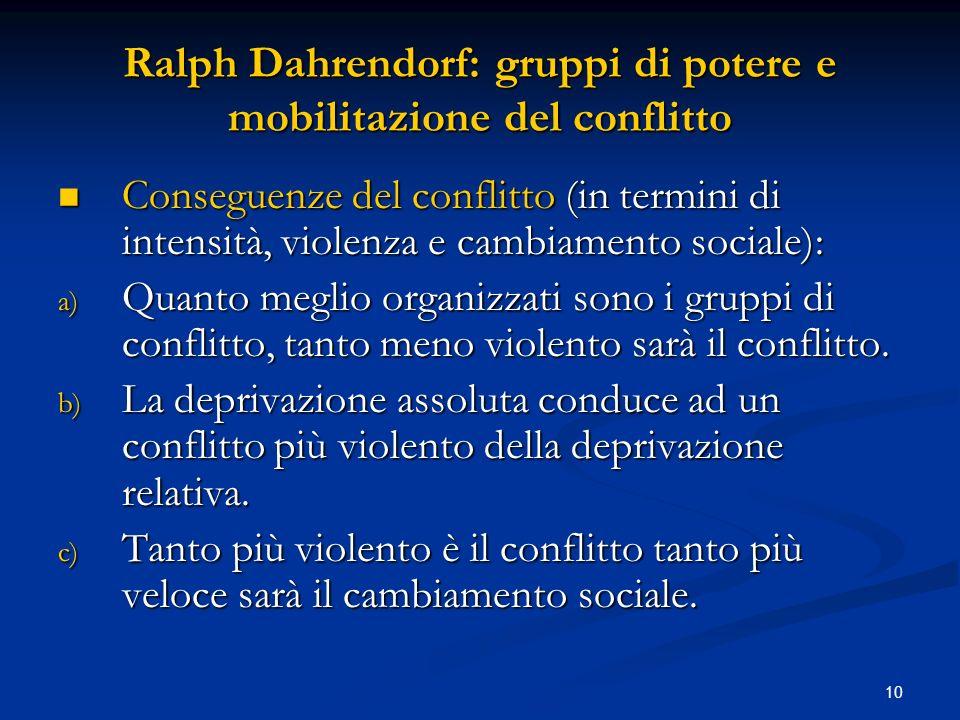 10 Ralph Dahrendorf: gruppi di potere e mobilitazione del conflitto Conseguenze del conflitto (in termini di intensità, violenza e cambiamento sociale