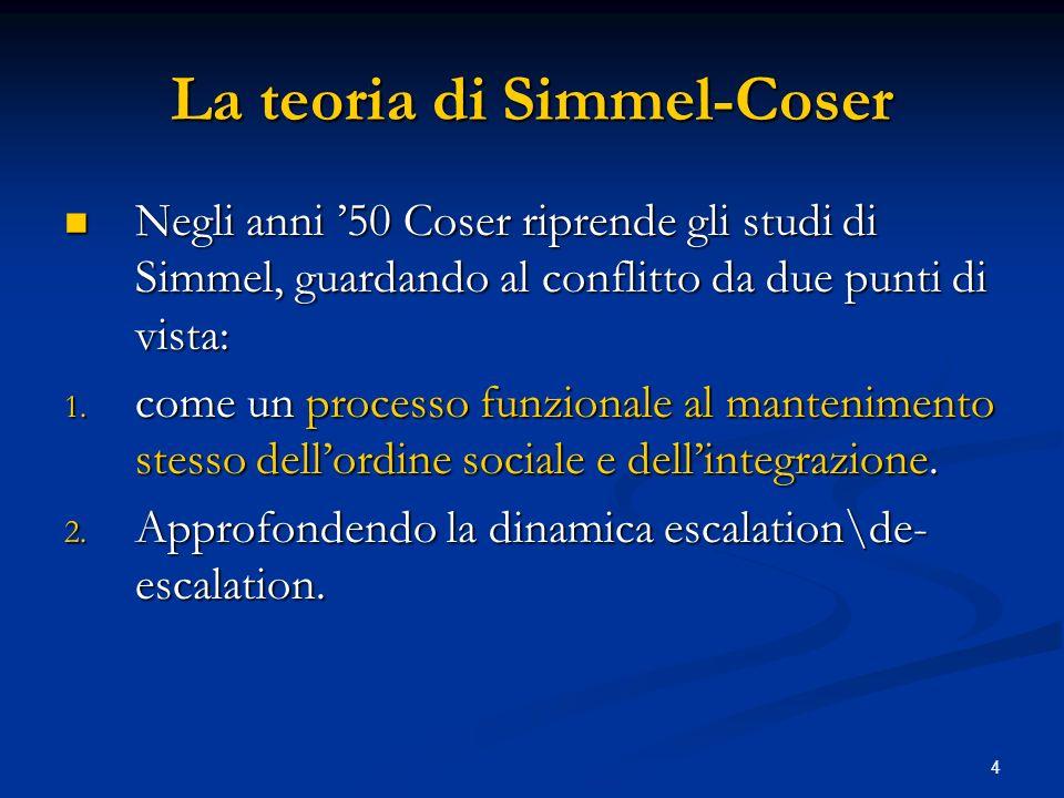 4 La teoria di Simmel-Coser Negli anni 50 Coser riprende gli studi di Simmel, guardando al conflitto da due punti di vista: Negli anni 50 Coser ripren