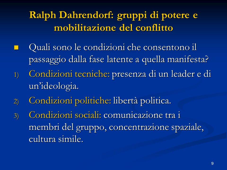 9 Ralph Dahrendorf: gruppi di potere e mobilitazione del conflitto Quali sono le condizioni che consentono il passaggio dalla fase latente a quella ma