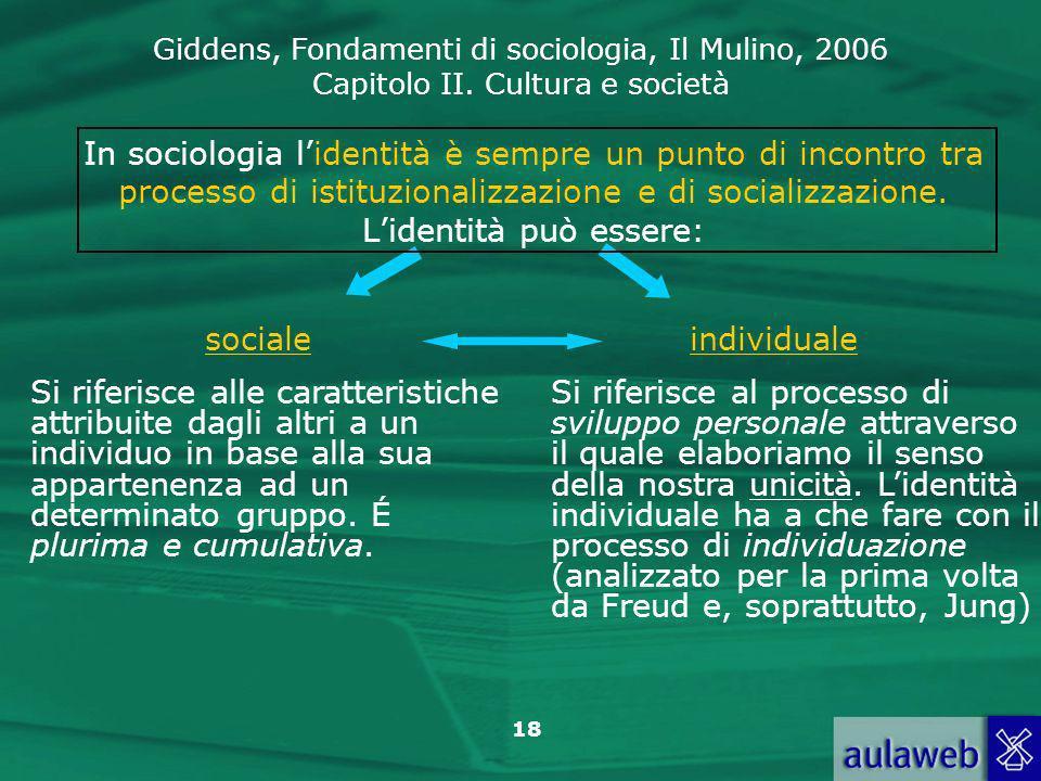 Giddens, Fondamenti di sociologia, Il Mulino, 2006 Capitolo II. Cultura e società 18 In sociologia lidentità è sempre un punto di incontro tra process
