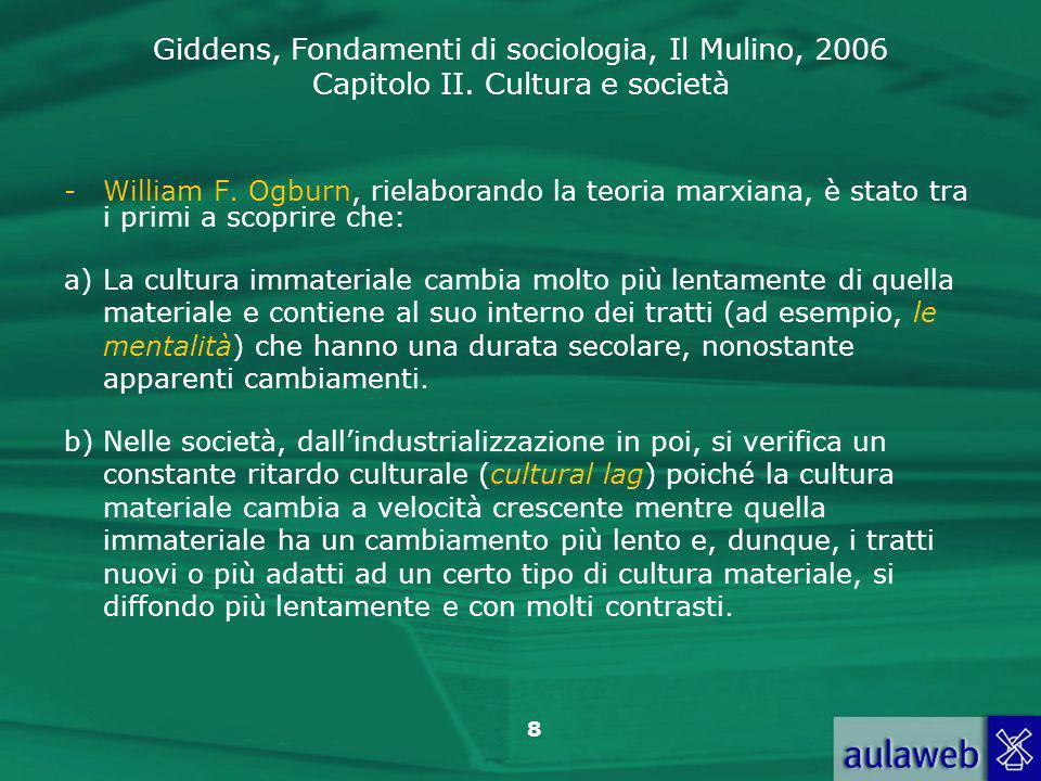 Giddens, Fondamenti di sociologia, Il Mulino, 2006 Capitolo II. Cultura e società 8 -William F. Ogburn, rielaborando la teoria marxiana, è stato tra i
