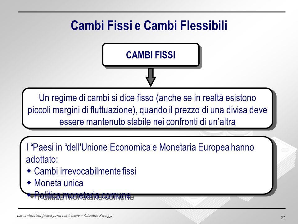La contabilità finanziaria con lestero – Claudio Picozza 22 Cambi Fissi e Cambi Flessibili Un regime di cambi si dice fisso (anche se in realtà esisto