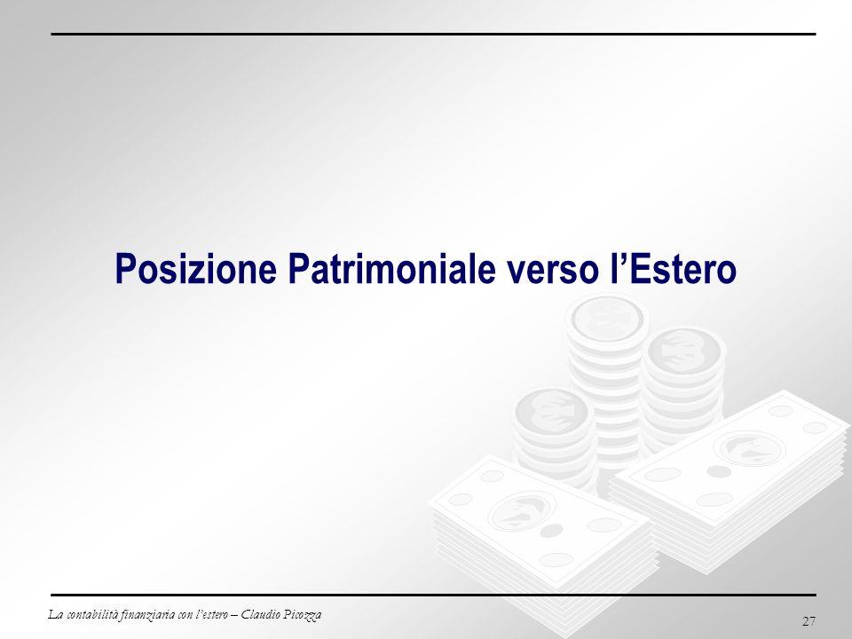 La contabilità finanziaria con lestero – Claudio Picozza 27 Posizione Patrimoniale verso lEstero