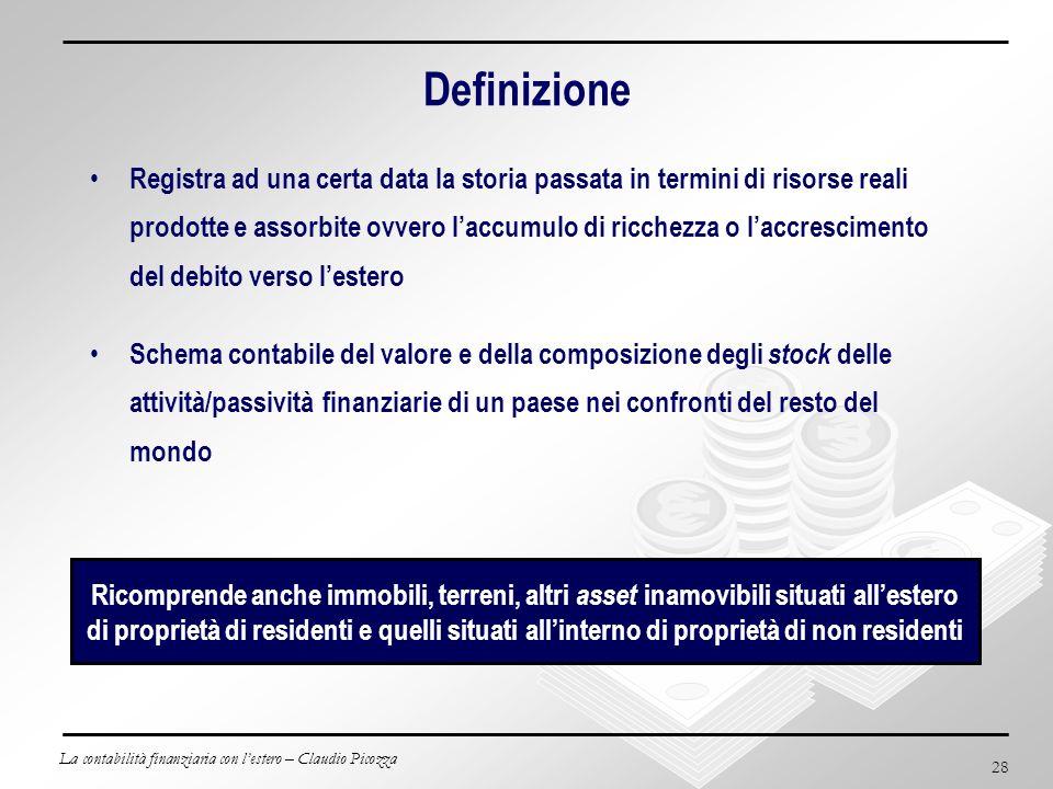 La contabilità finanziaria con lestero – Claudio Picozza 28 Definizione Registra ad una certa data la storia passata in termini di risorse reali prodo