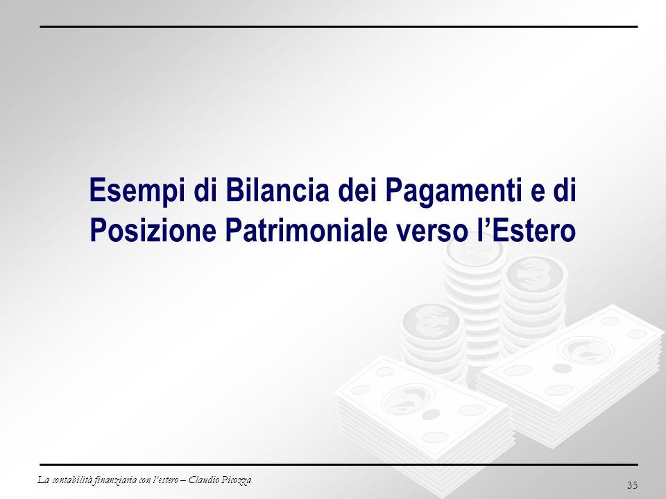La contabilità finanziaria con lestero – Claudio Picozza 35 Esempi di Bilancia dei Pagamenti e di Posizione Patrimoniale verso lEstero