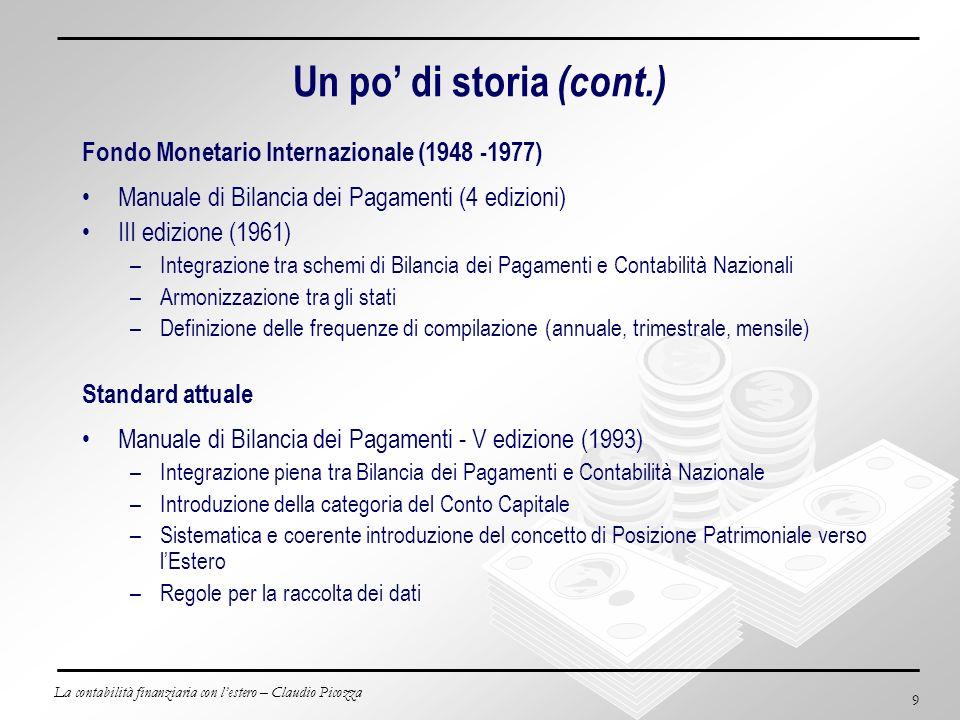La contabilità finanziaria con lestero – Claudio Picozza 9 Un po di storia (cont.) Fondo Monetario Internazionale (1948 -1977) Manuale di Bilancia dei