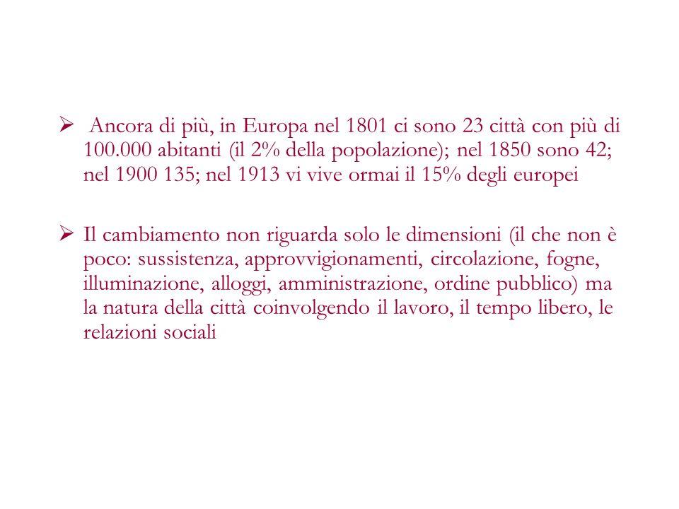 Ancora di più, in Europa nel 1801 ci sono 23 città con più di 100.000 abitanti (il 2% della popolazione); nel 1850 sono 42; nel 1900 135; nel 1913 vi