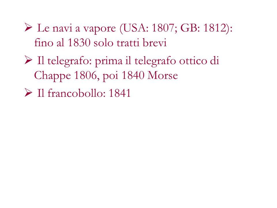 Le navi a vapore (USA: 1807; GB: 1812): fino al 1830 solo tratti brevi Il telegrafo: prima il telegrafo ottico di Chappe 1806, poi 1840 Morse Il franc
