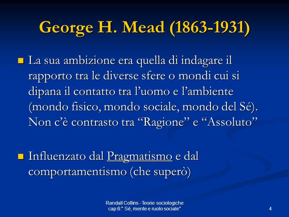 4 Randall Collins - Teorie sociologiche cap.6: Sé, mente e ruolo sociale George H.