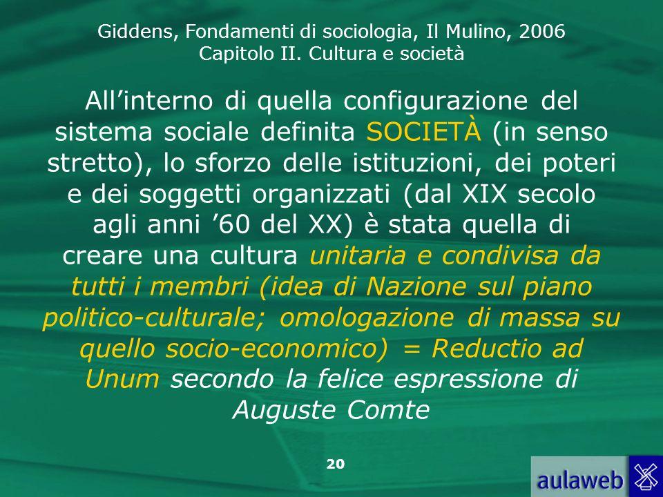 Giddens, Fondamenti di sociologia, Il Mulino, 2006 Capitolo II. Cultura e società 20 Allinterno di quella configurazione del sistema sociale definita