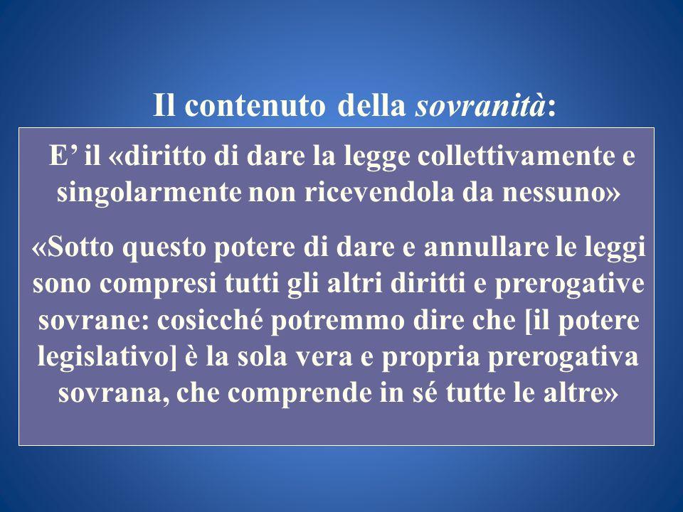 Il contenuto della sovranità: E il «diritto di dare la legge collettivamente e singolarmente non ricevendola da nessuno» «Sotto questo potere di dare