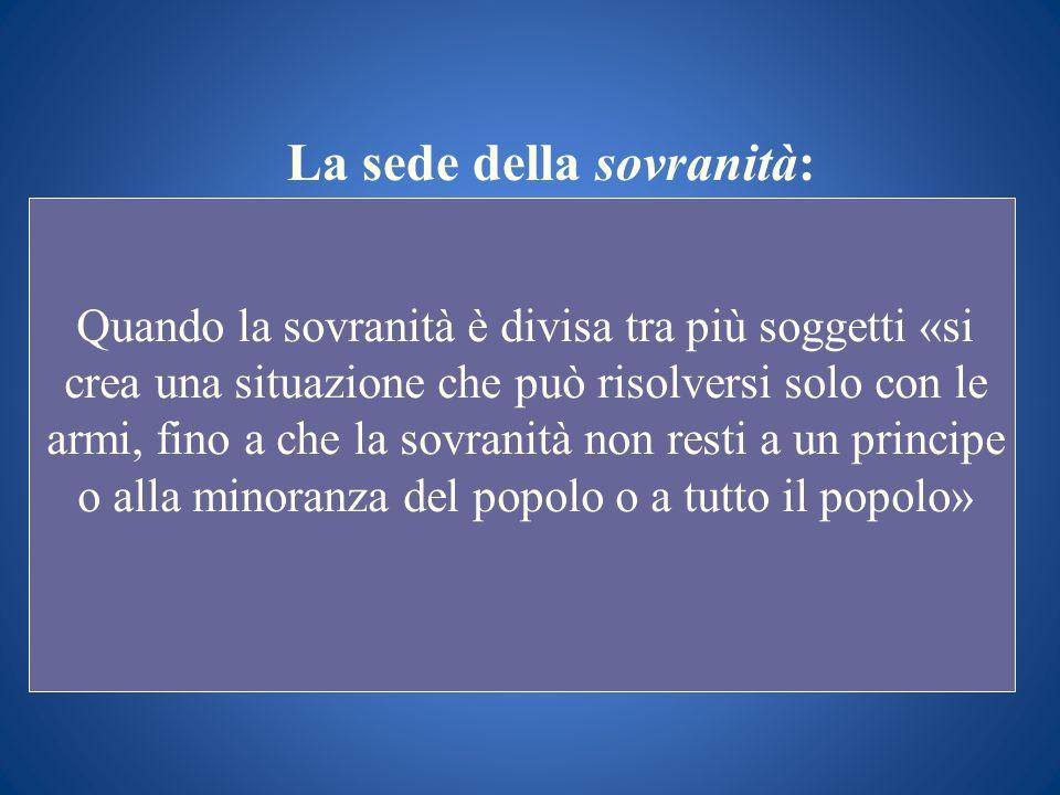 La sede della sovranità: Quando la sovranità è divisa tra più soggetti «si crea una situazione che può risolversi solo con le armi, fino a che la sovr