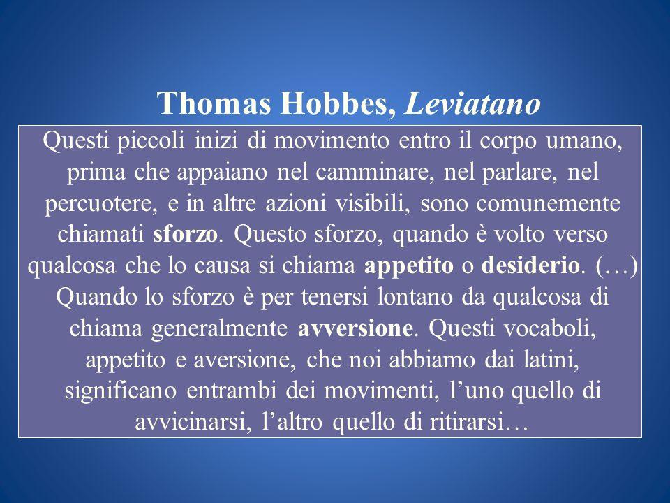 Thomas Hobbes, Leviatano Questi piccoli inizi di movimento entro il corpo umano, prima che appaiano nel camminare, nel parlare, nel percuotere, e in a