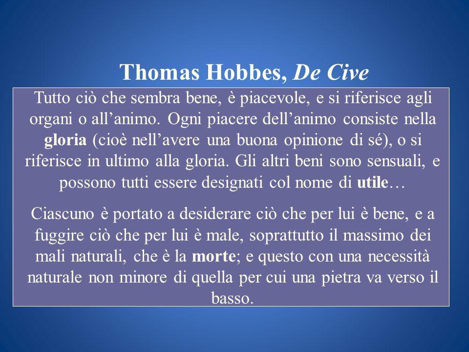Thomas Hobbes, De Cive Tutto ciò che sembra bene, è piacevole, e si riferisce agli organi o allanimo. Ogni piacere dellanimo consiste nella gloria (ci