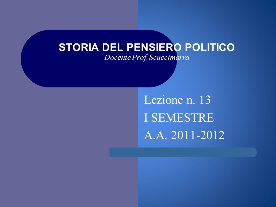 i STORIA DEL PENSIERO POLITICO Docente Prof. Scuccimarra Lezione n. 13 I SEMESTRE A.A. 2011-2012
