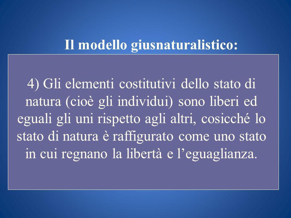 Il modello giusnaturalistico: 4) Gli elementi costitutivi dello stato di natura (cioè gli individui) sono liberi ed eguali gli uni rispetto agli altri
