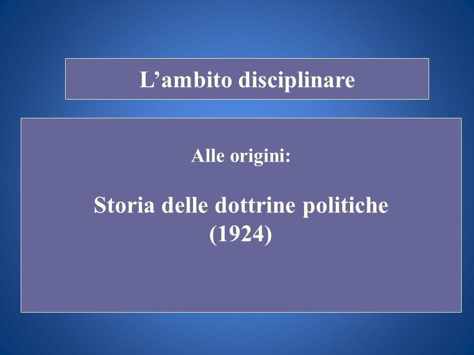STORIA COSTITUZIONALE Lambito disciplinare Oggi: Storia del pensiero politico Storia delle idee politiche Storia delle ideologie