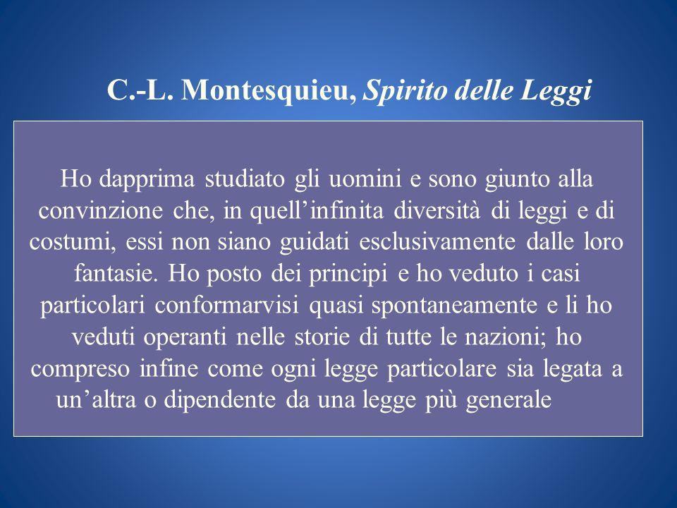 C.-L. Montesquieu, Spirito delle Leggi Ho dapprima studiato gli uomini e sono giunto alla convinzione che, in quellinfinita diversità di leggi e di co
