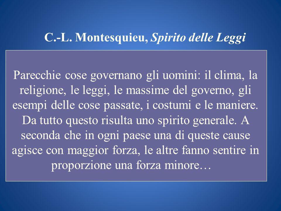 C.-L. Montesquieu, Spirito delle Leggi Parecchie cose governano gli uomini: il clima, la religione, le leggi, le massime del governo, gli esempi delle